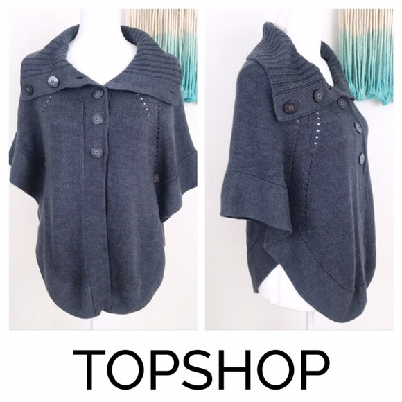 Topshop Sweaters - Topshop Cape Style Sweater Gray Chunky Poncho